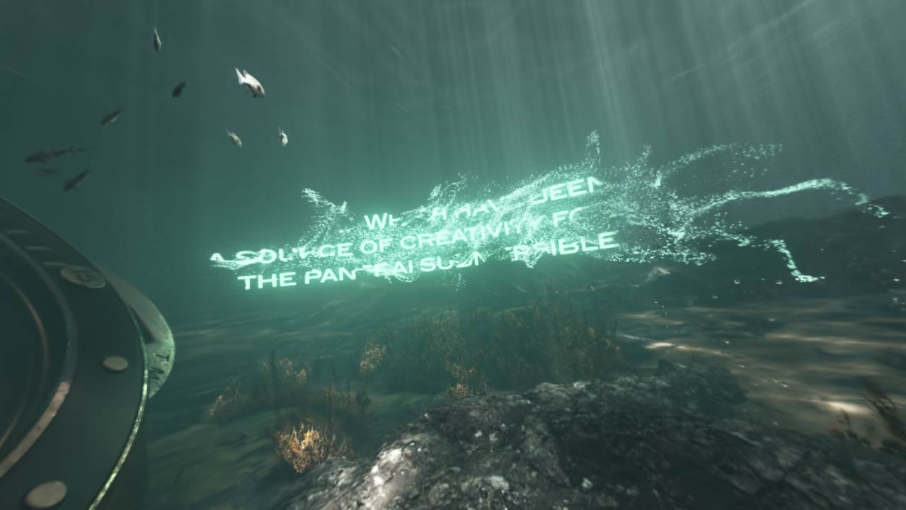 3D text made of luminous particles dissolving underwater