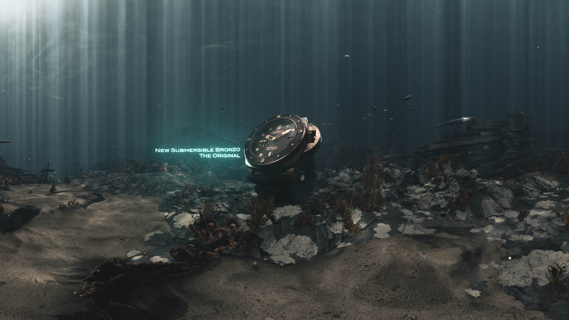 3D visual of a Panerai Bronzo watch posed on the seabed