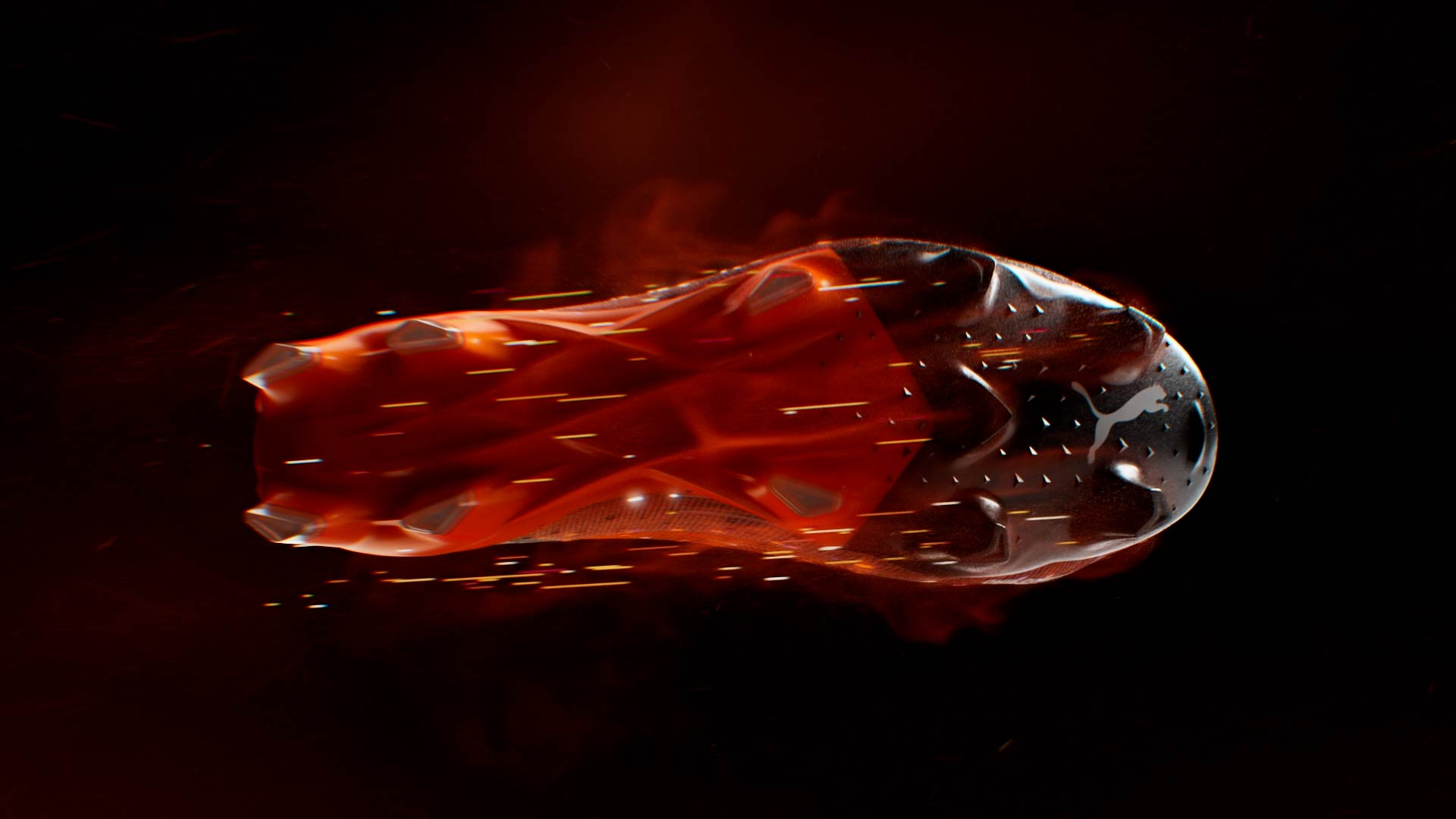 3D smoke simulation and particles on the soccer shoe sole