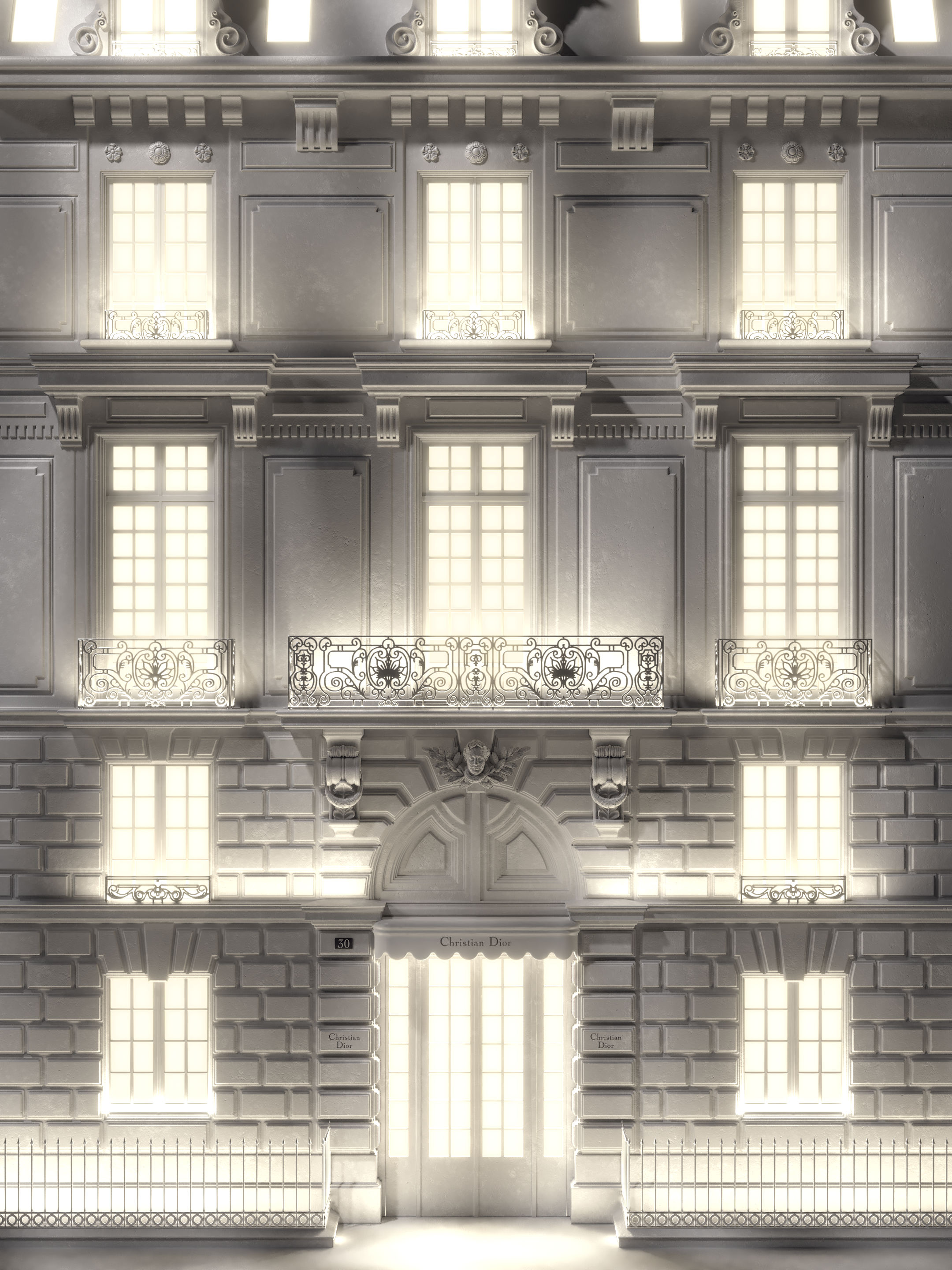 Stylized 3D visual of the iconic Dior Facade avenue de Montaigne, with a magical lighting