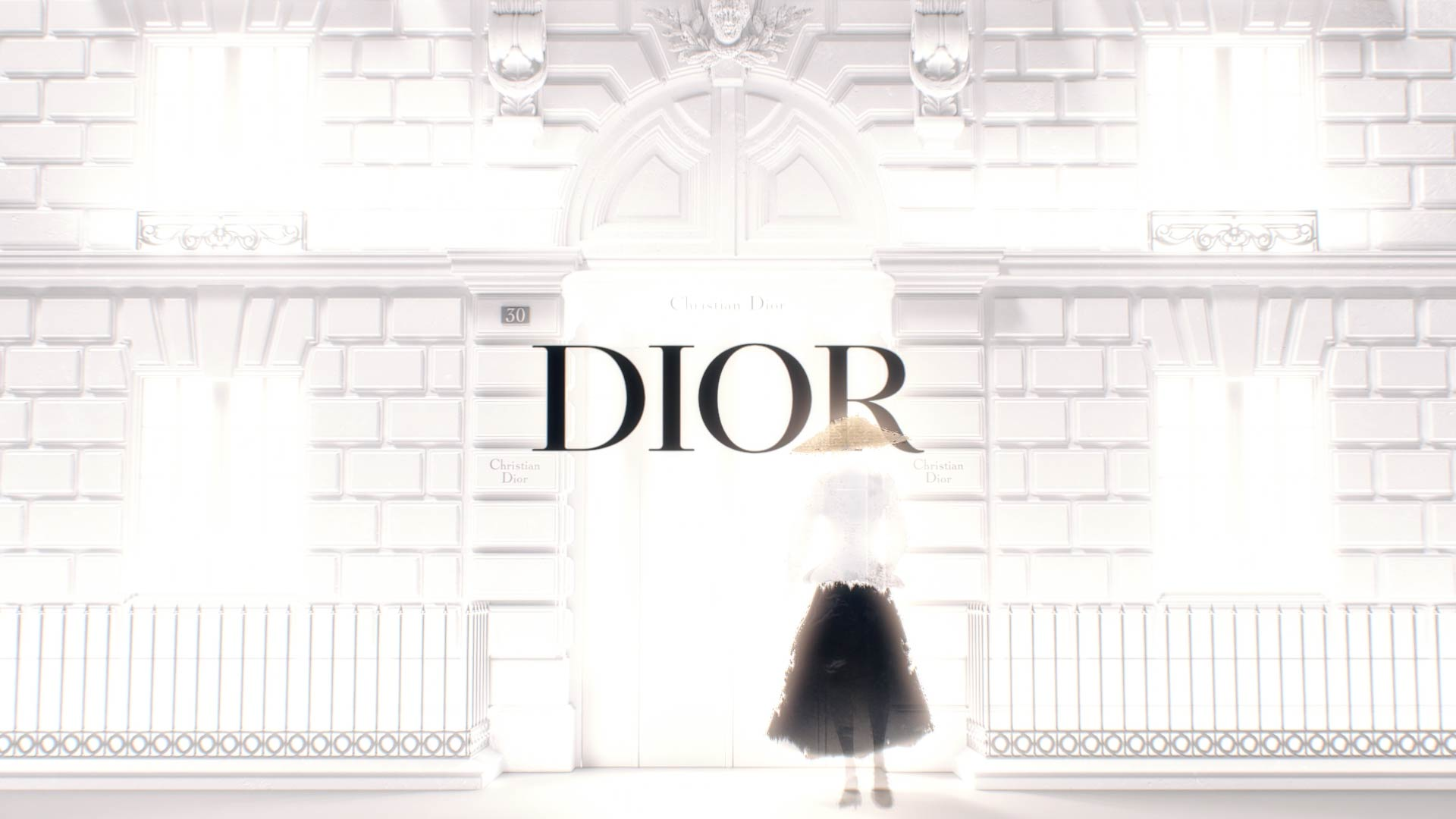 Stylized Fashion woman illustration in front of 3D Dior facade
