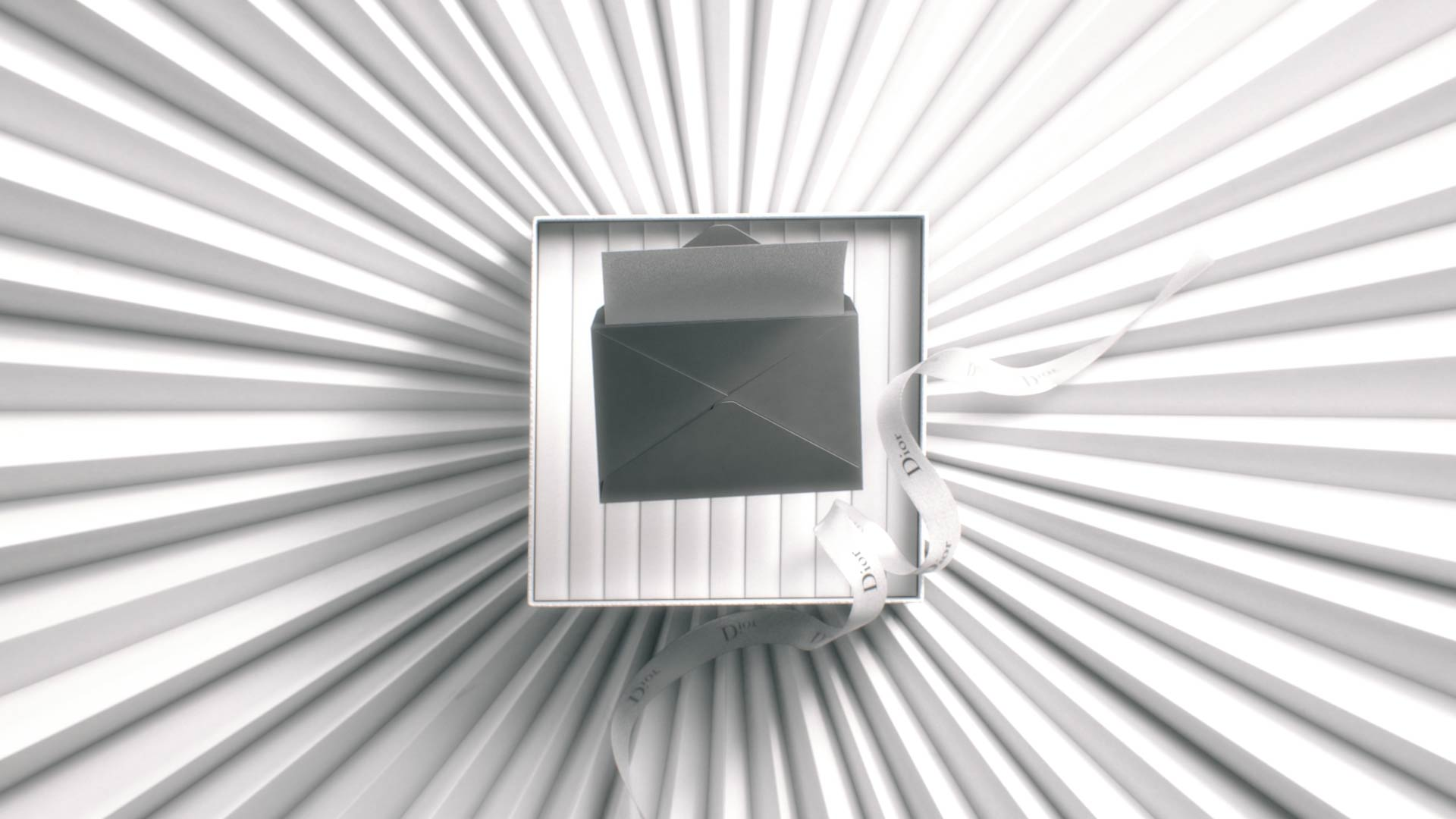 3D Dior gift box with an opening mail on top