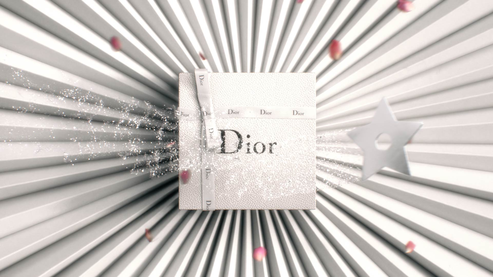 Magical silver star flying over a Dior gift box