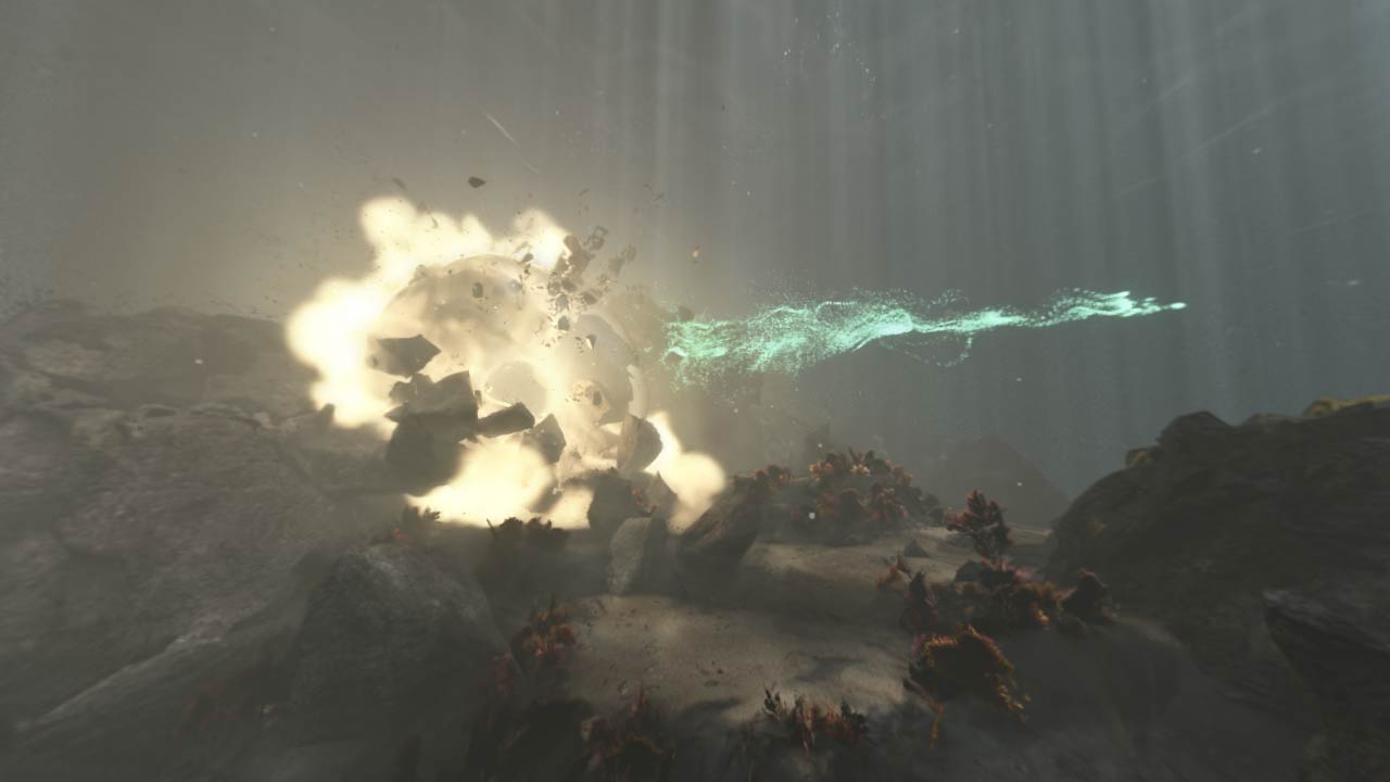 3D render of an underwater explosion simulated with Houdini