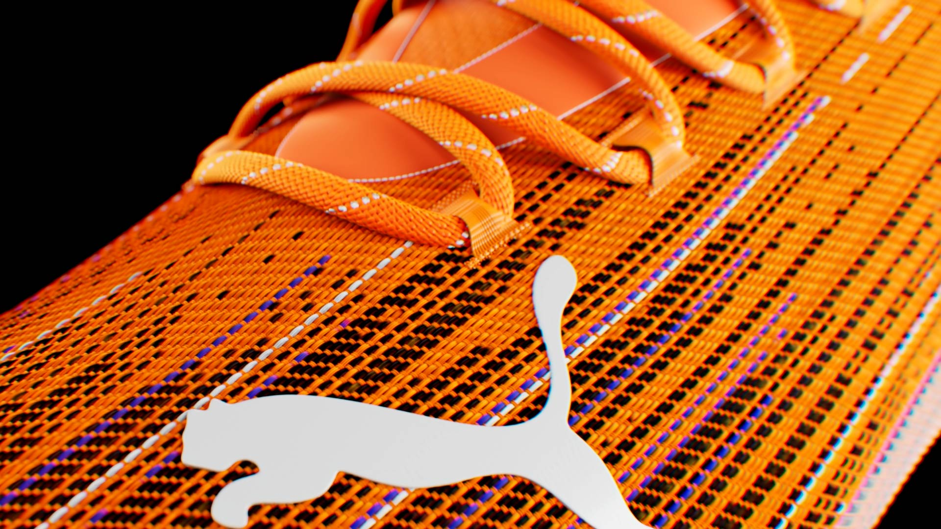Close-up 3D render of the fabric of the Puma Ultra soccer shoe