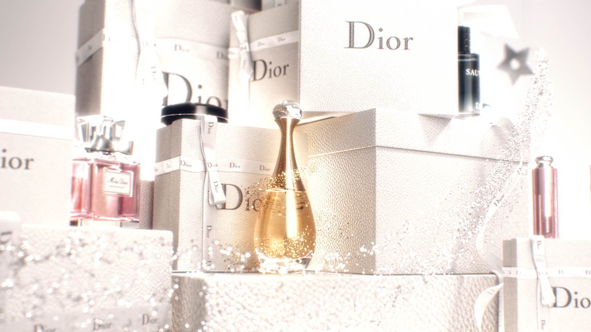 3D Motion Design with Dior products on top of gift boxes with magical particles
