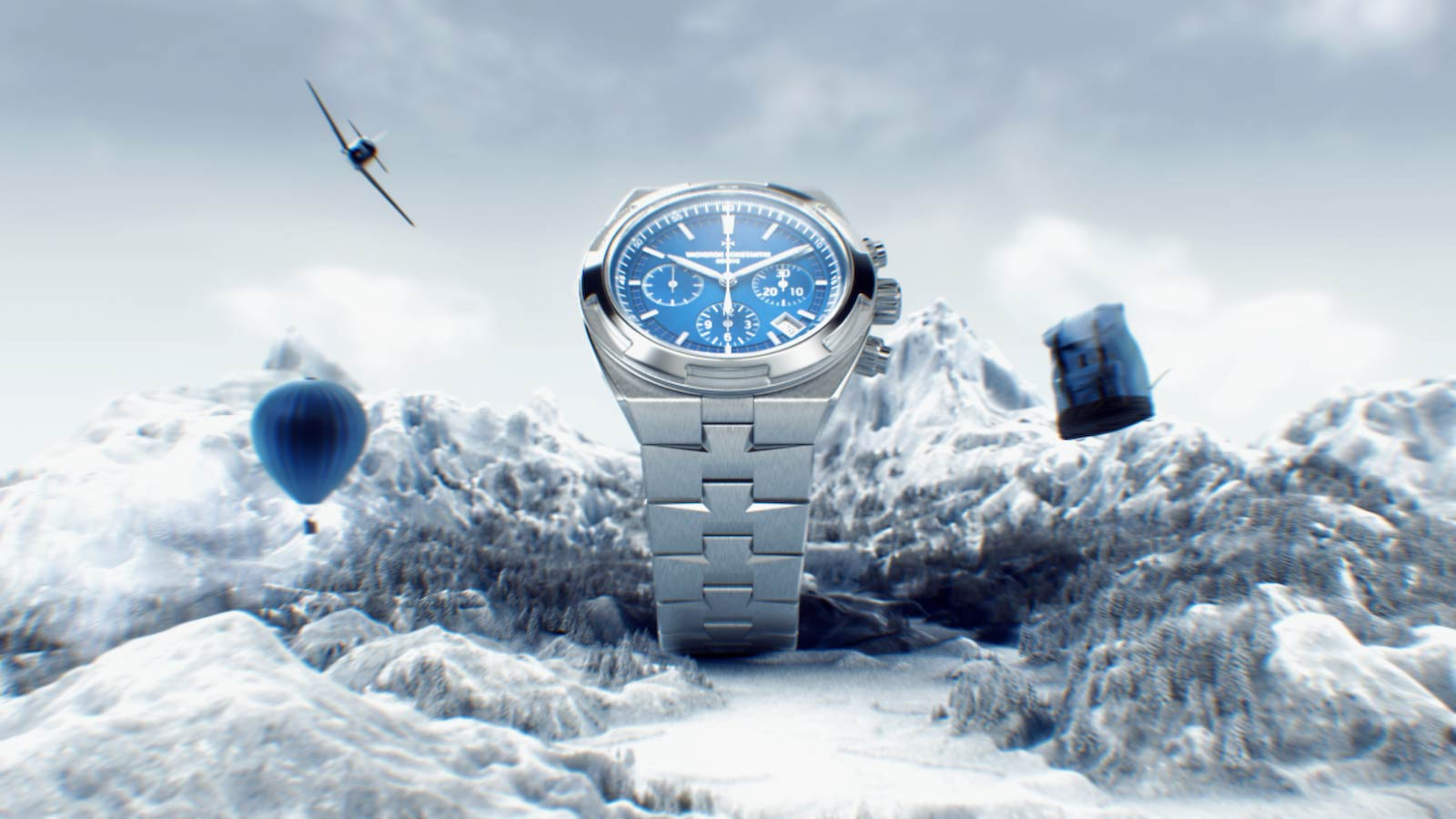 3D render of the Vacheron Overseas watch in  CGI moutains