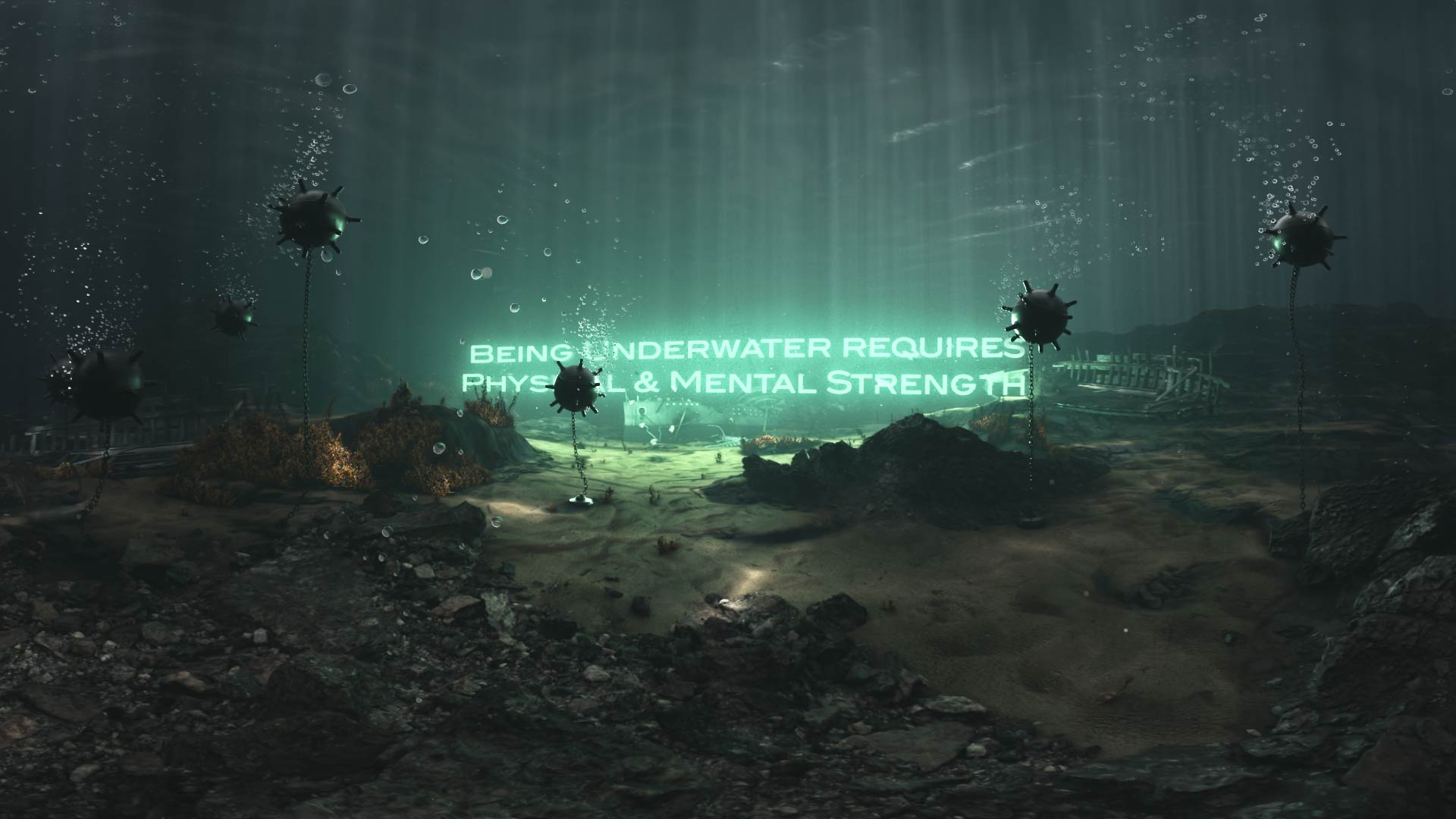 3D rendering of a submarine minefield with a luminescent text