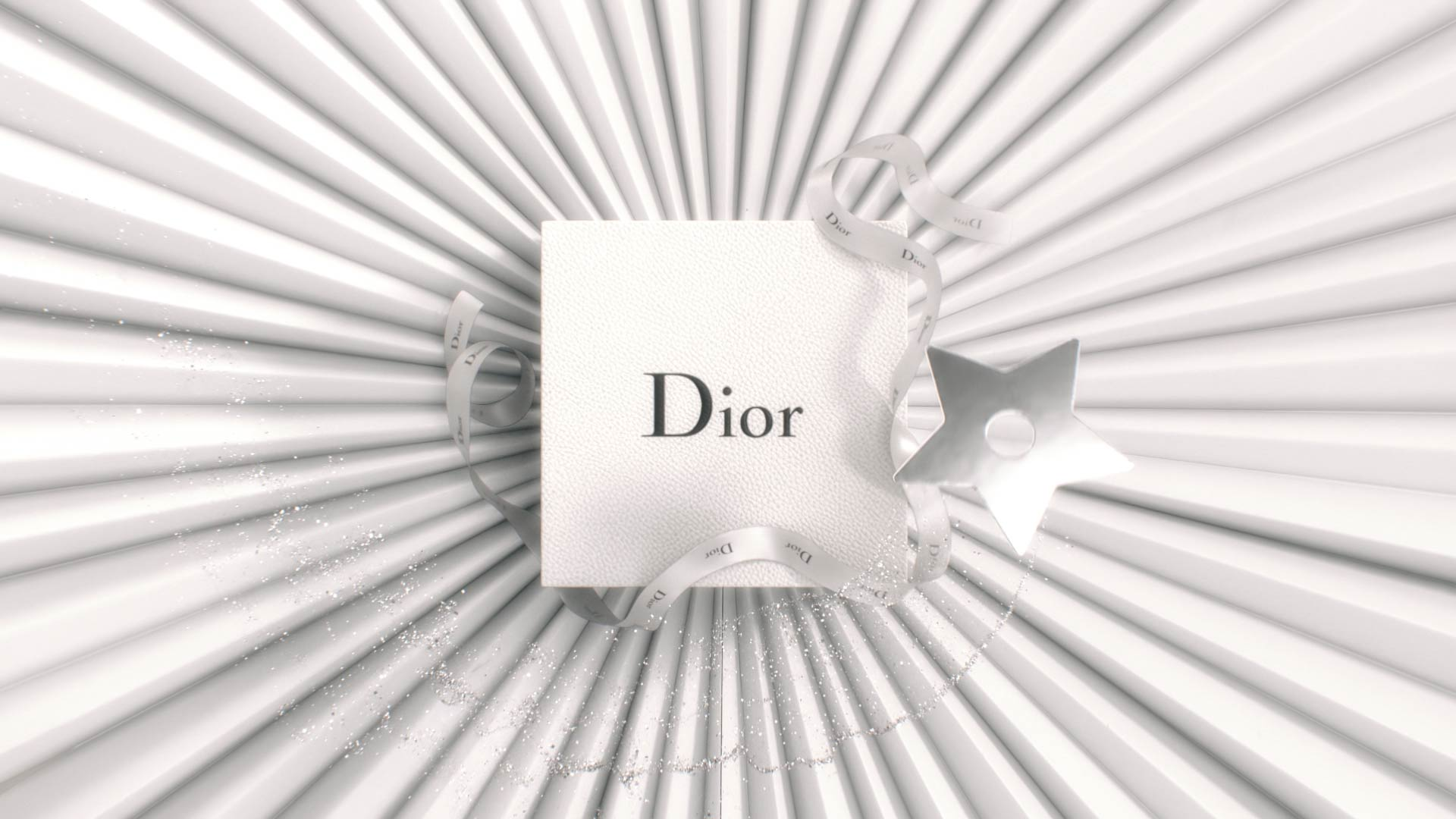 3D Dior gift box on top of paper art