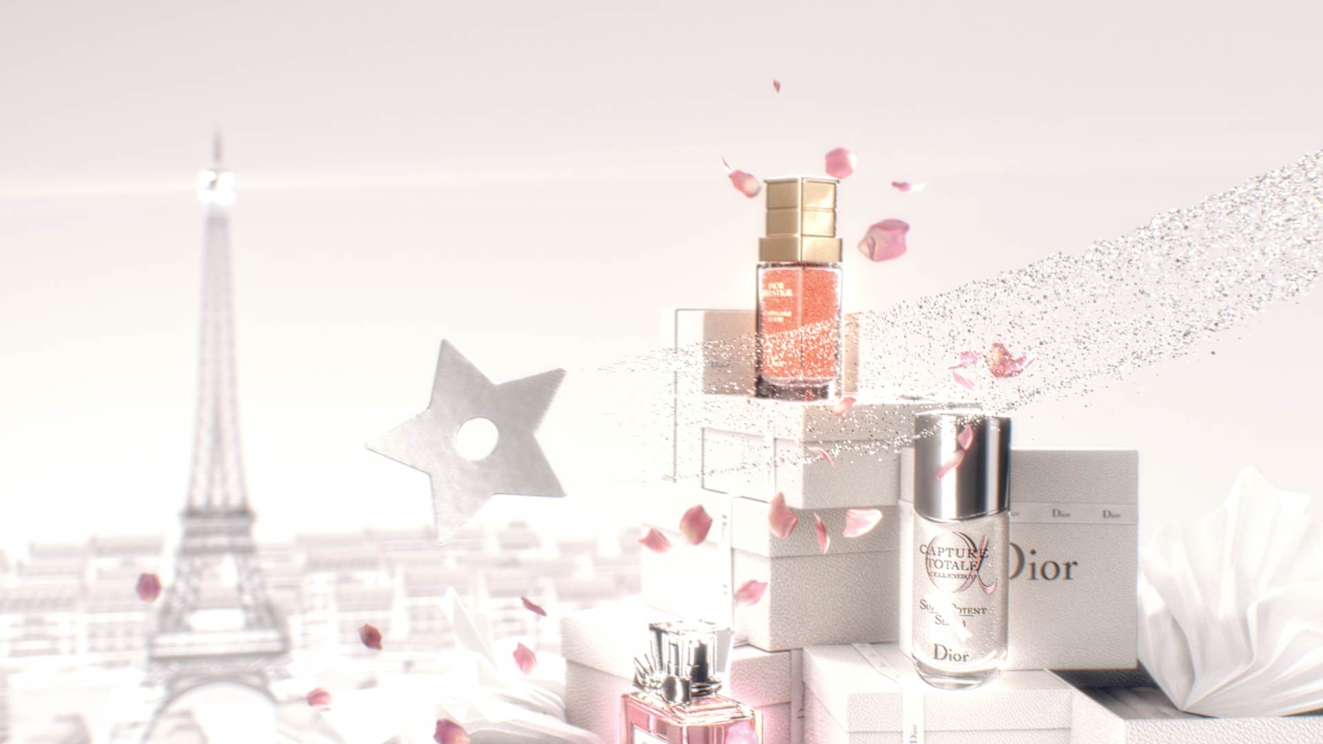 3D Motion Design with Dior products on top of gift boxes with Paris in the background