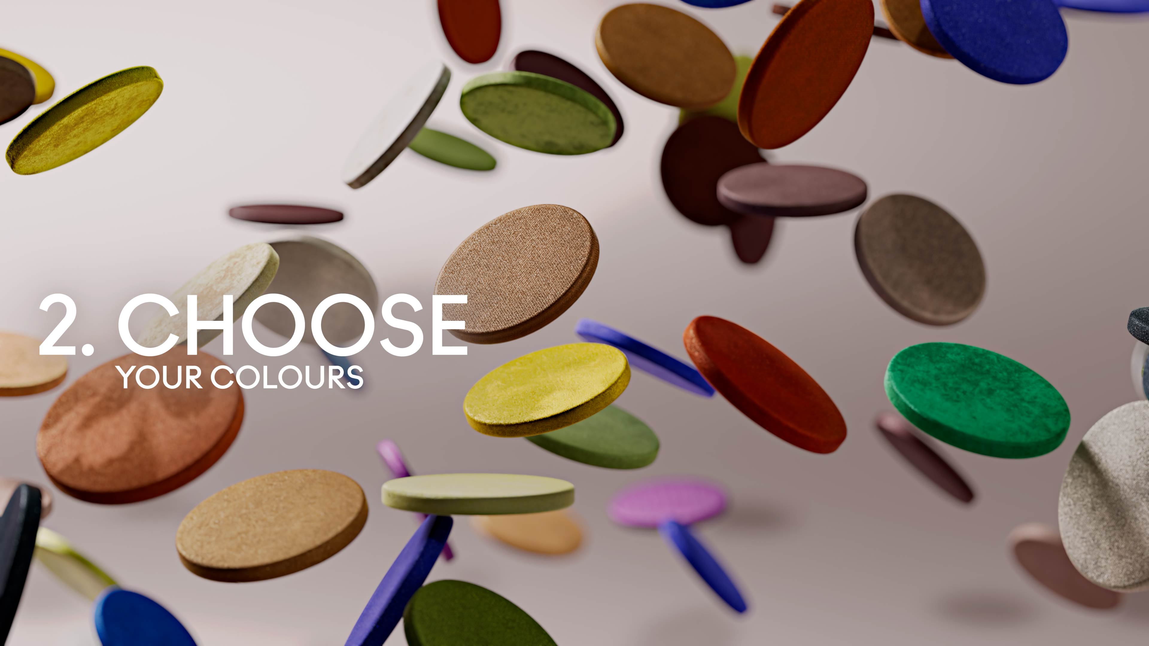 3D motion design with levitating colored cosmetic powder