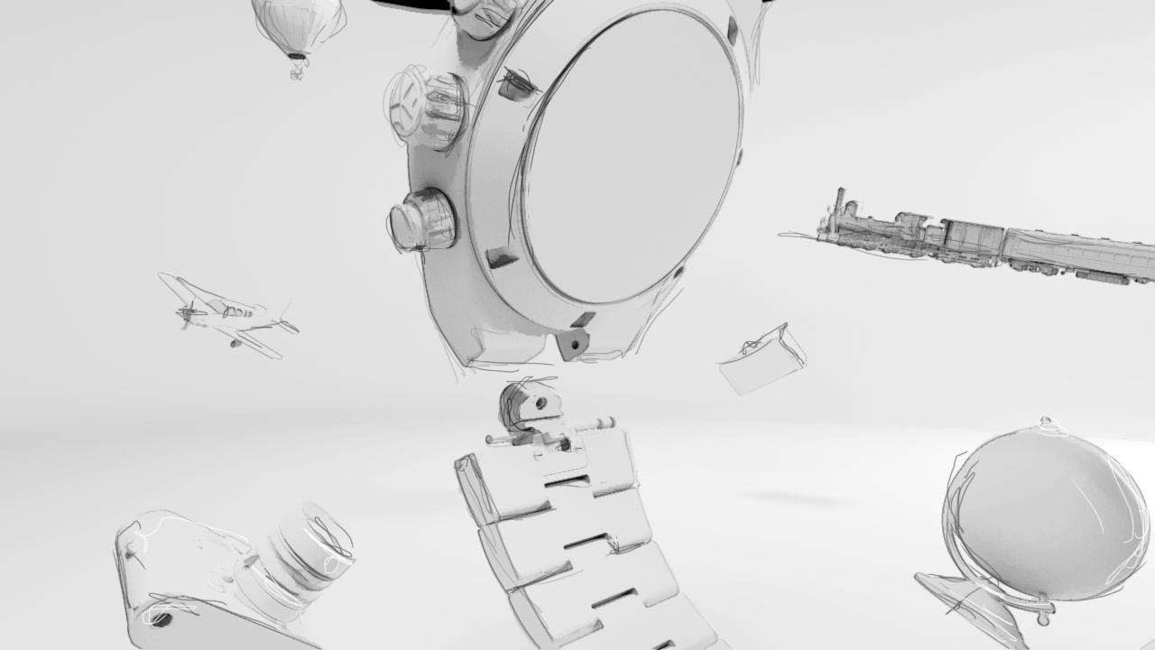 Storyboard illustration of our Vacheron Overseas watch animation