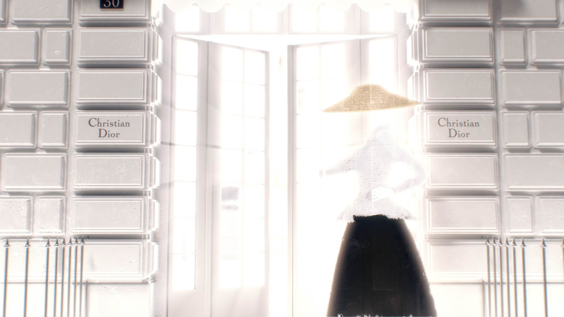 Stylized Fashion woman illustration opening a 3D Dior boutique