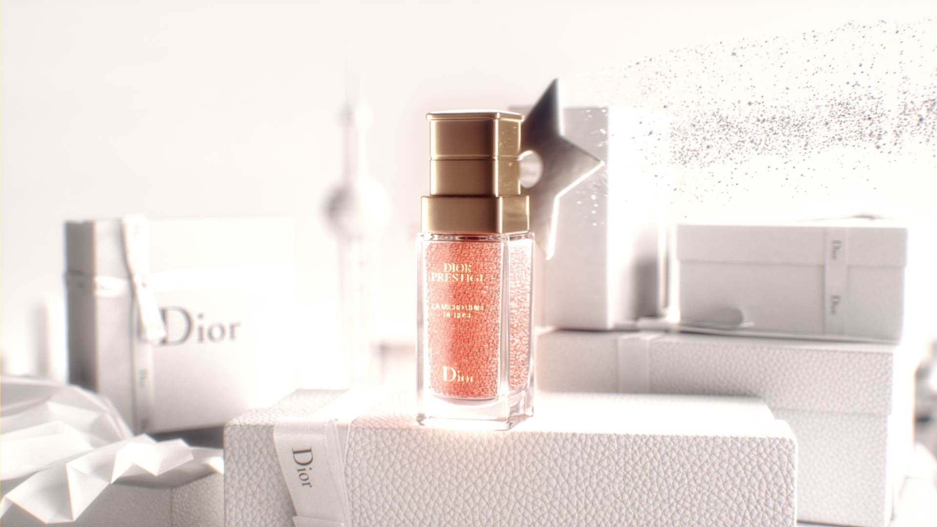 3D render of Dior Prestige product in a motion design animation