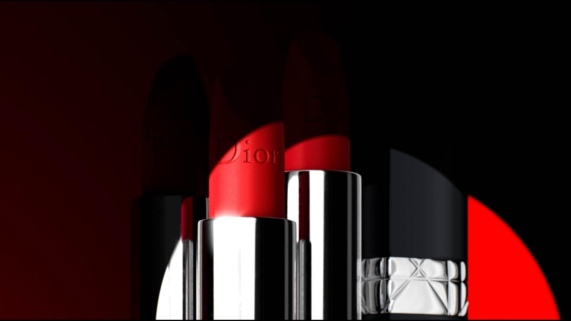 Rendu 3D des rouges à lèvres Dior Rouge sous un projecteur de lumière