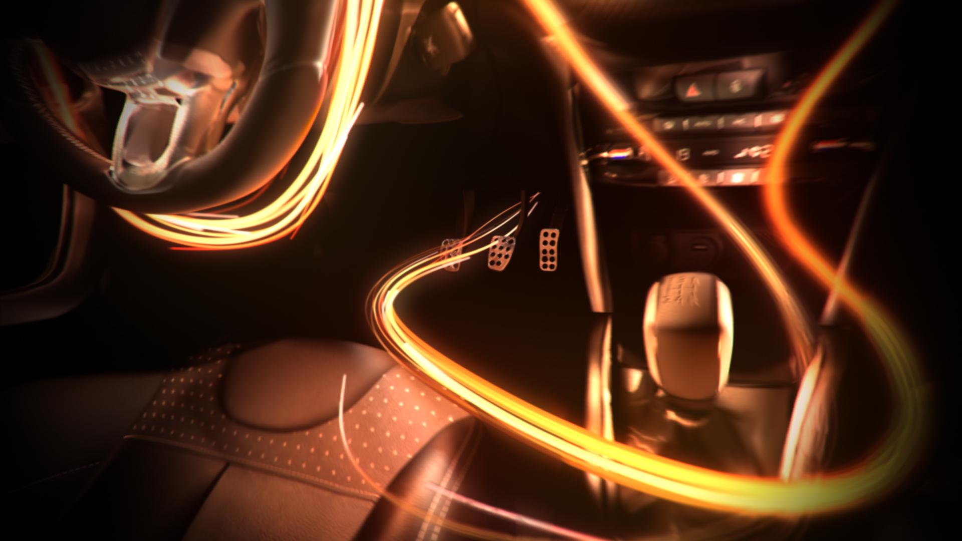 3D luminous particles trails flowing around a Peugeot 208 iCockpit