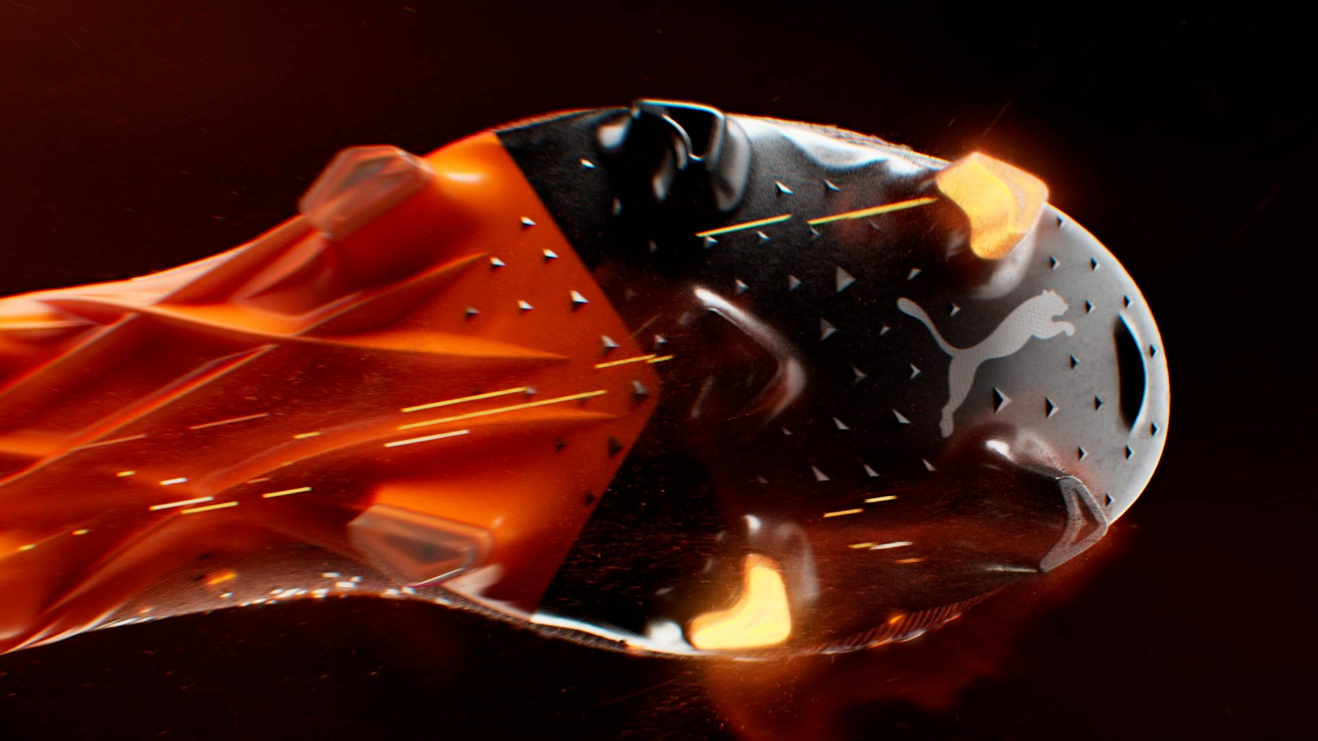 3D animation of the soccer shoe sole with luminescent crampons and particles