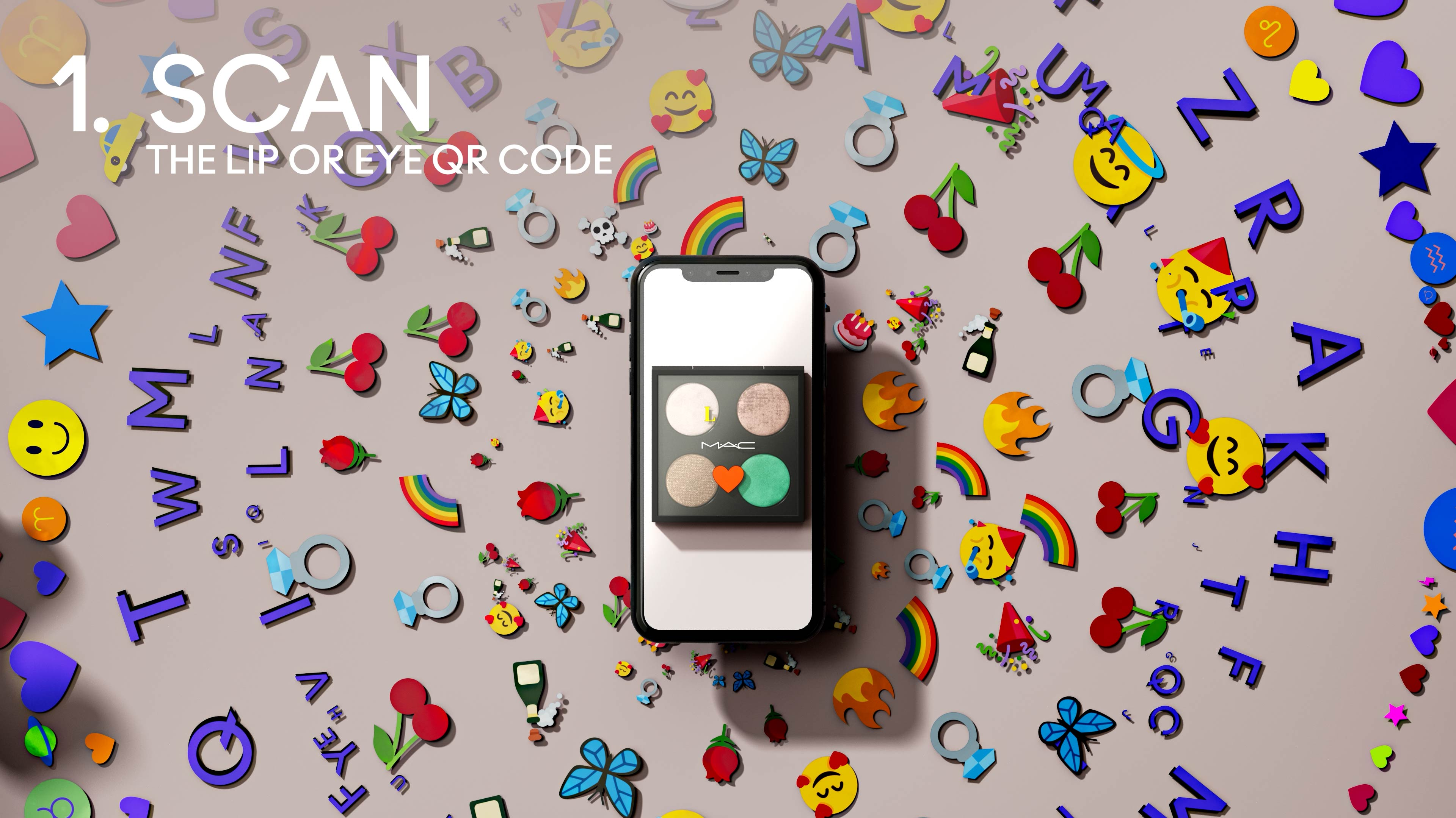 3D Motion design with colored emojis behind a phone