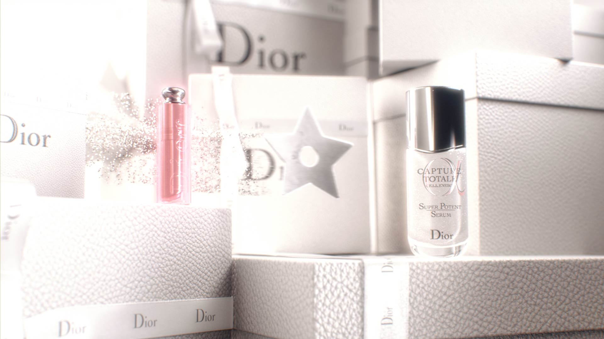 3D render of Dior products in a motion design animation