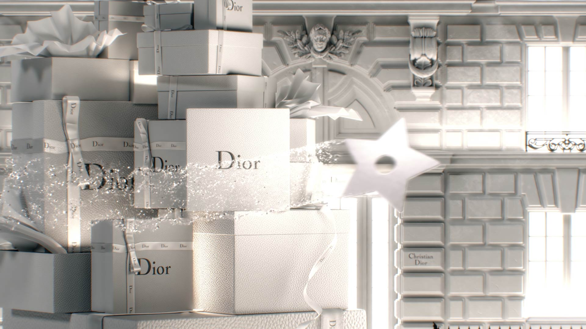 Pile of Dior gift boxes in front of a magical facade in 3D