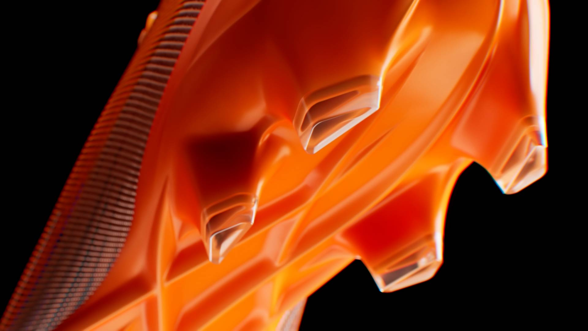 Photo-realistic 3D render of the Puma Ultra sole with vibrant orange plastic material