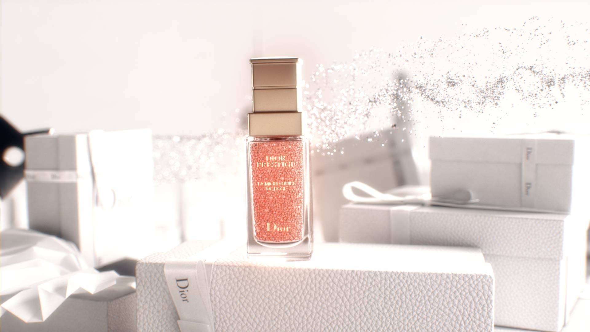 3D render of Dior Prestige product in a motion design animation with particles