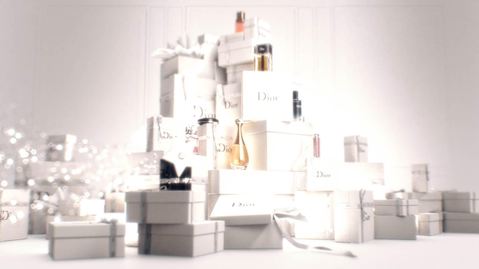 3D Dior products on top of Gift boxes