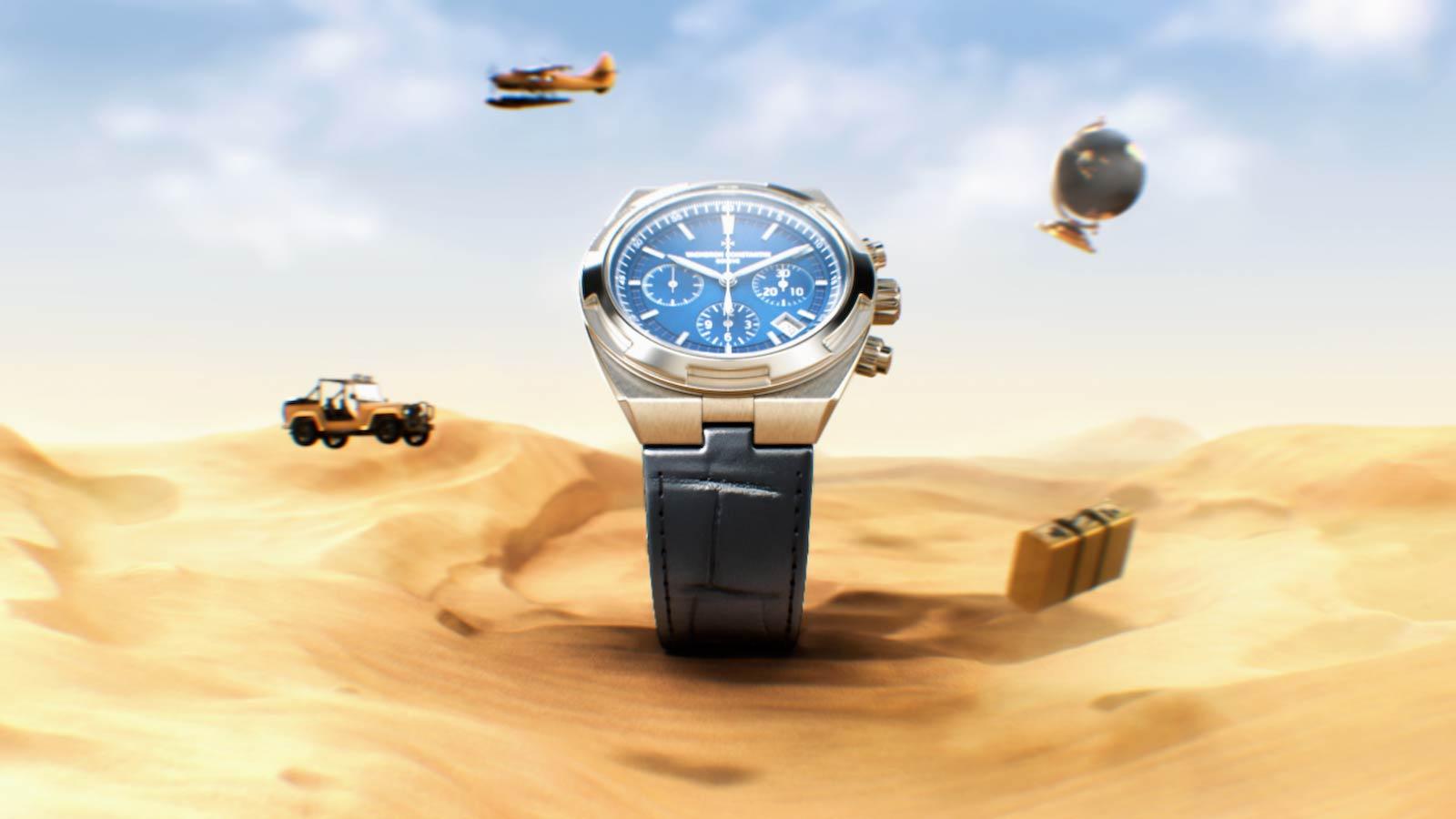 3D render of the Vacheron Overseas watch in a CGI desert