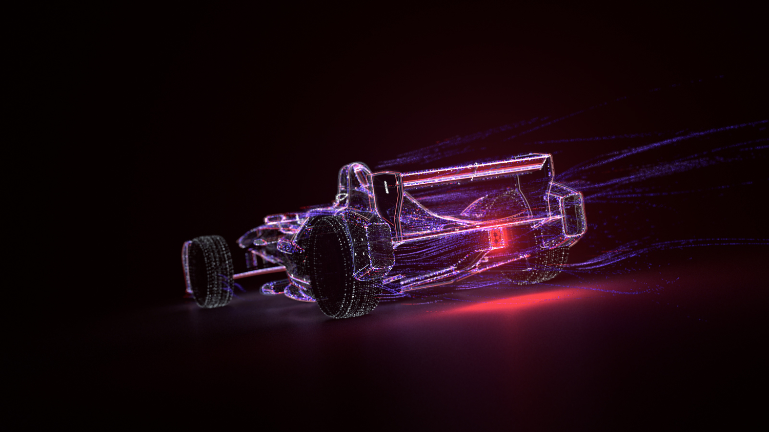 Stylized version of the Formula E made with 3D particles and glowing trails