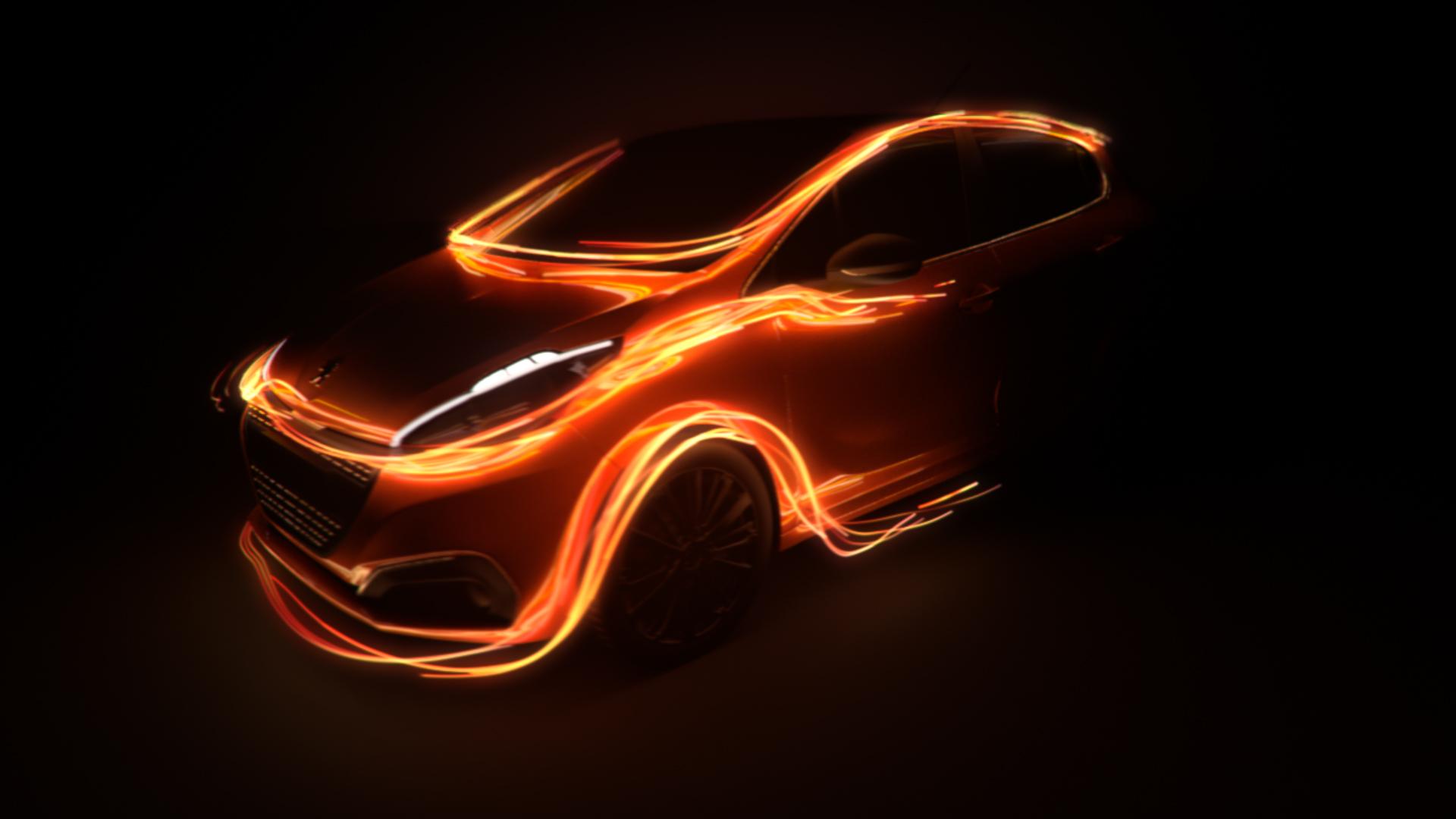 3D luminous particles trails on top of a Peugeot 208