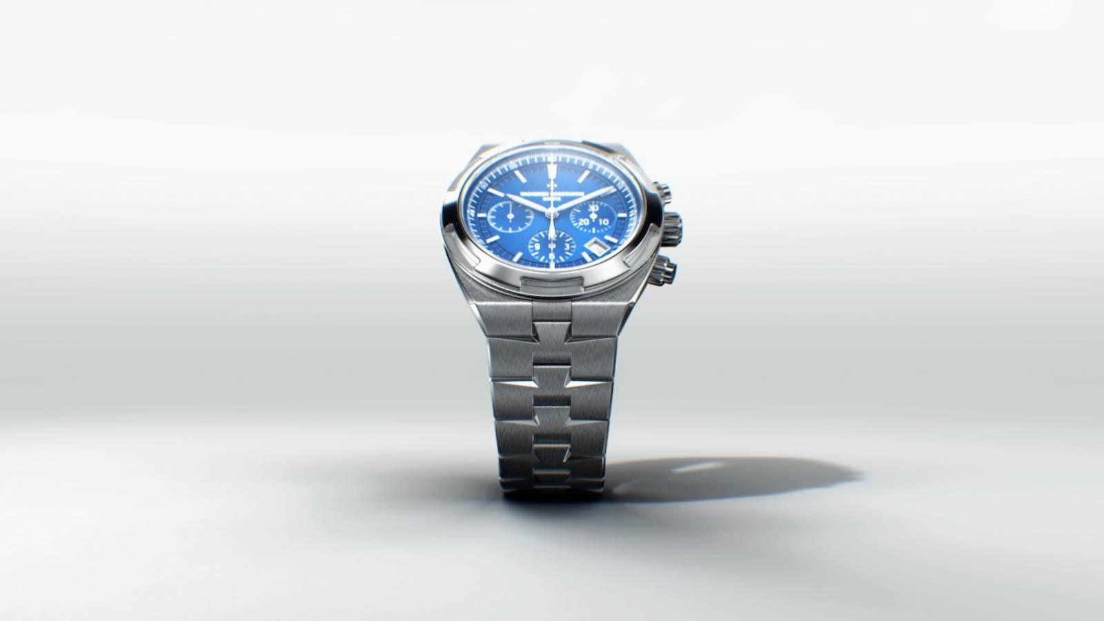 3D watch render of the Vacheron Overseas with metal straps