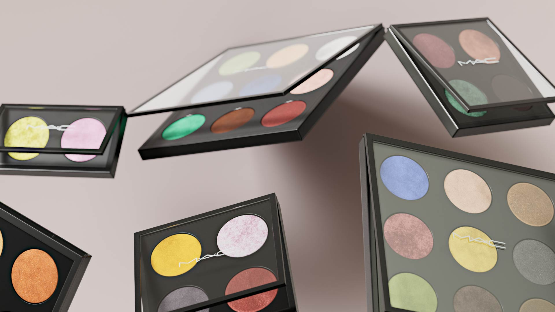 Levitating MAC palette cosmetic producs in 3D