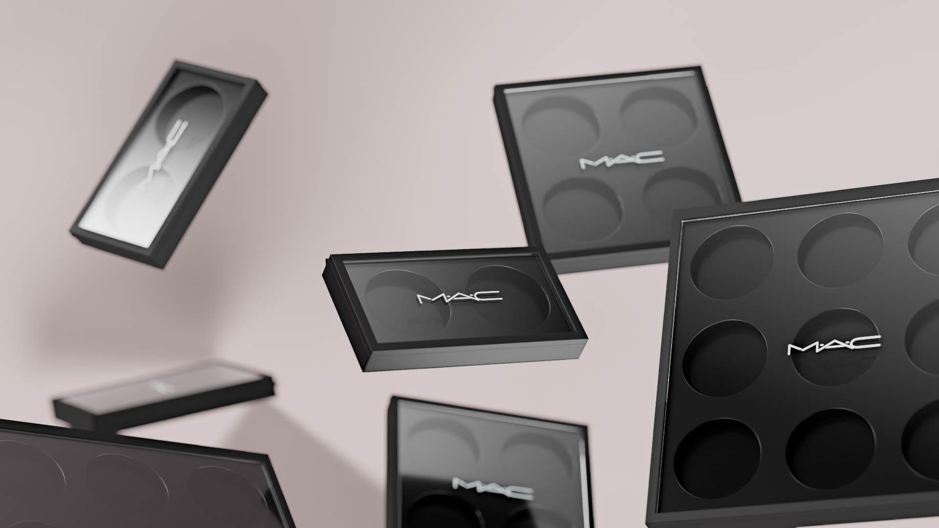 Close Up 3D render of cometics MAC products levitating