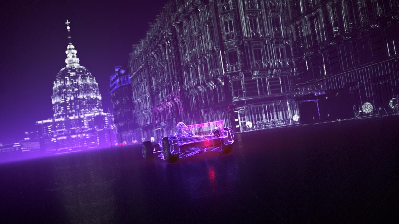 3D stylized Formula E car made in a Sci-fi Paris
