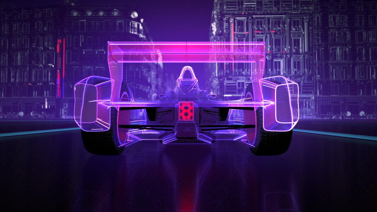 Formula E car made of 3D stylized lines