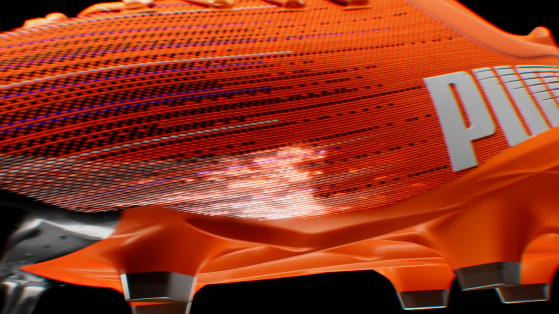 Motion Design animation of luminescent particles flowing around a soccer shoe