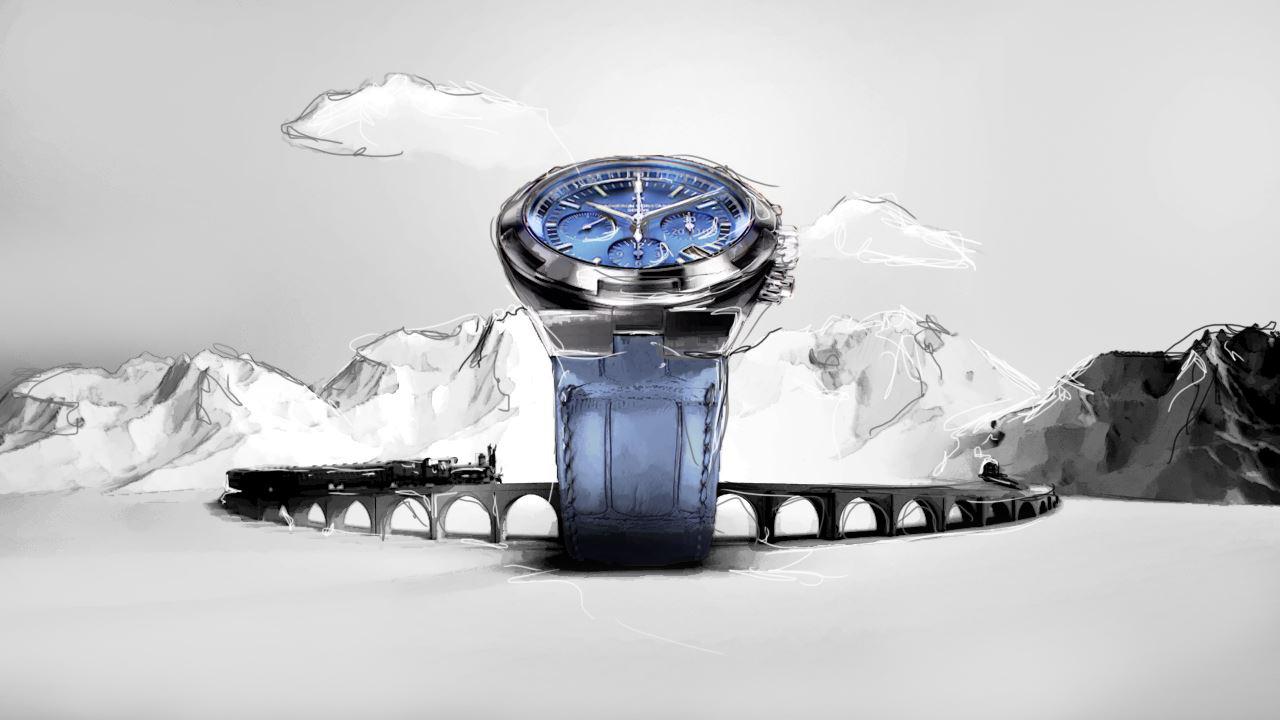 Illustration of the Vacheron Constantin watch in a mountain environnement