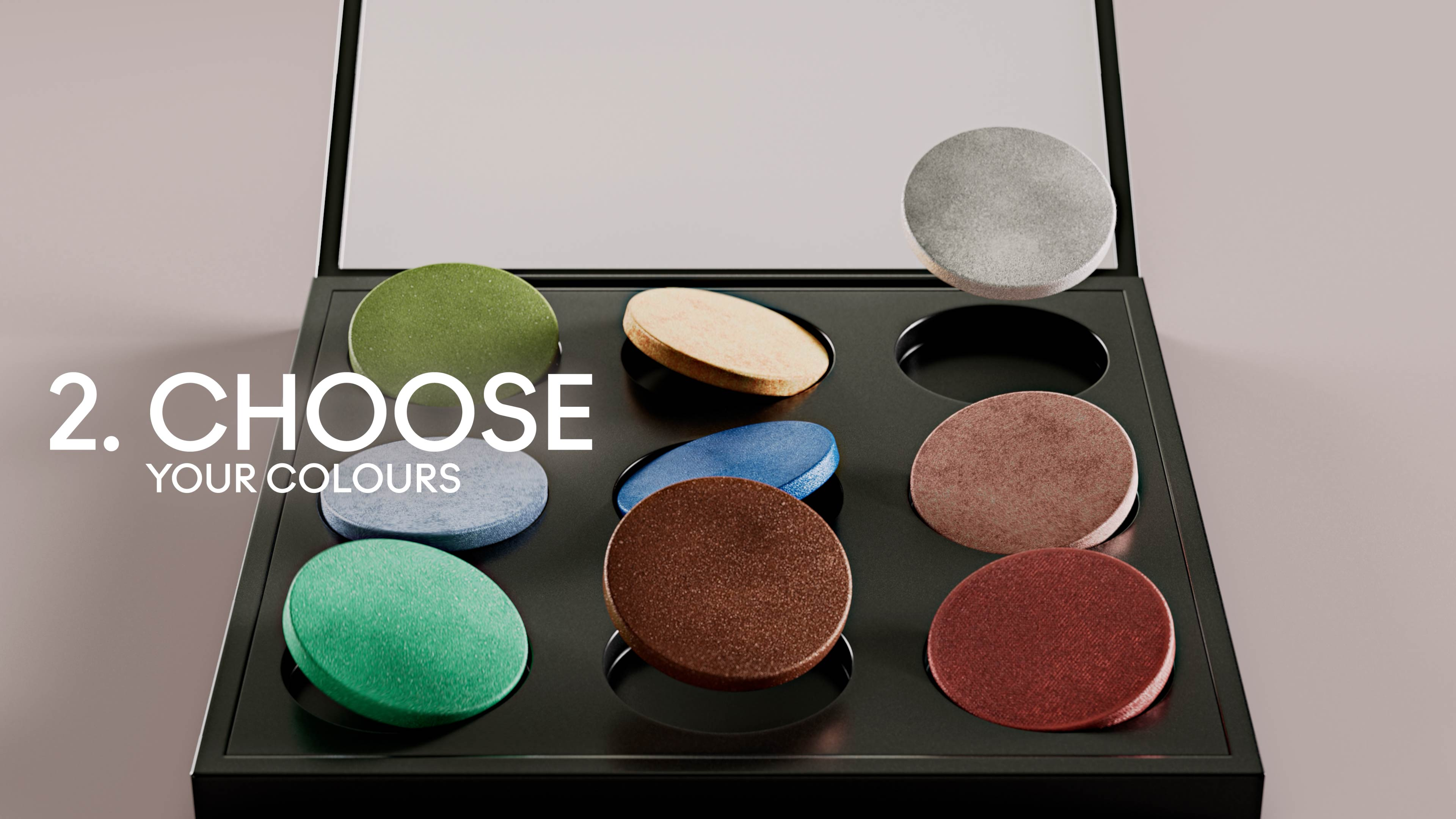 3D animation of colored cosmetic powders falling in a MAC palette