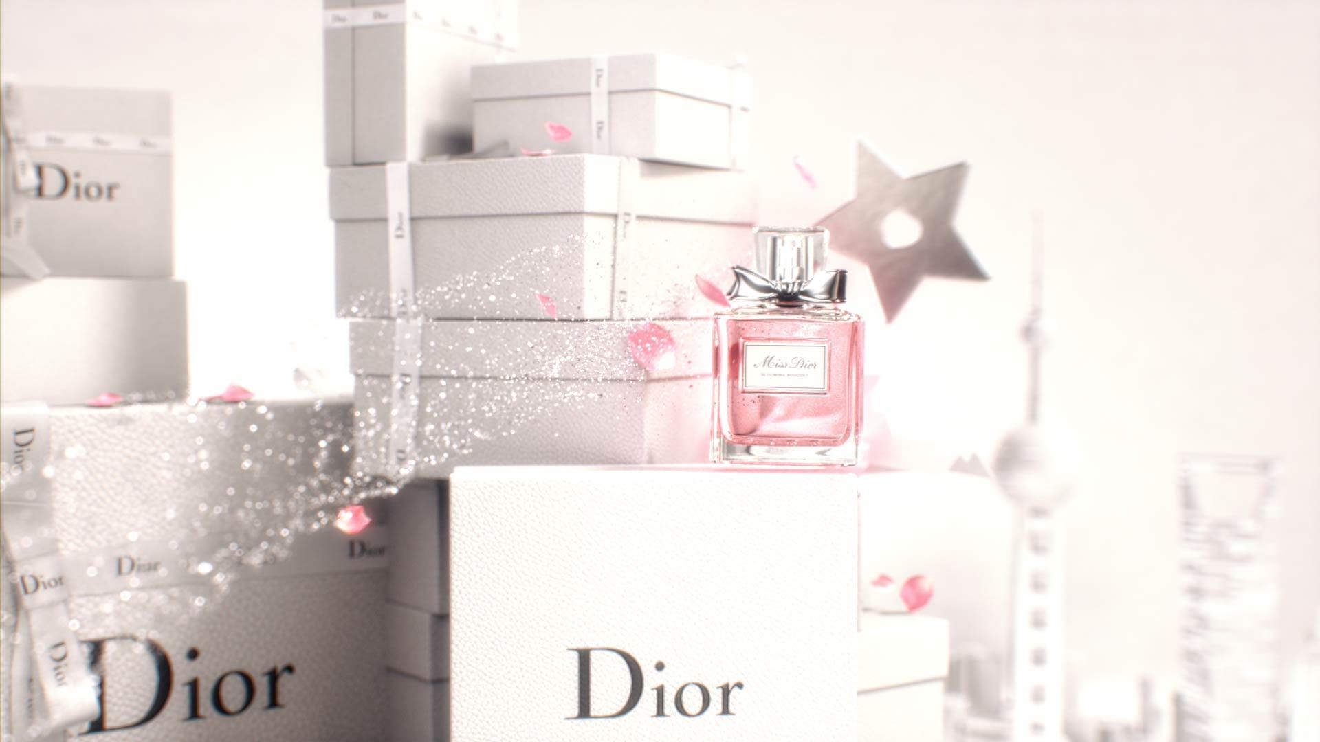3D render of Miss Dior fragrance bottle in a motion design animation