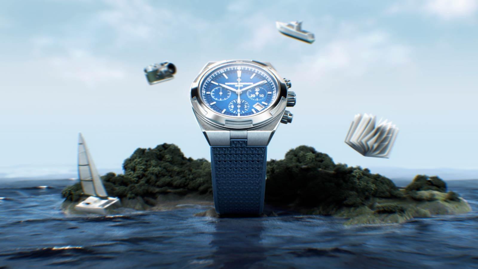 3D render of the Vacheron Overseas watch on a CGI island