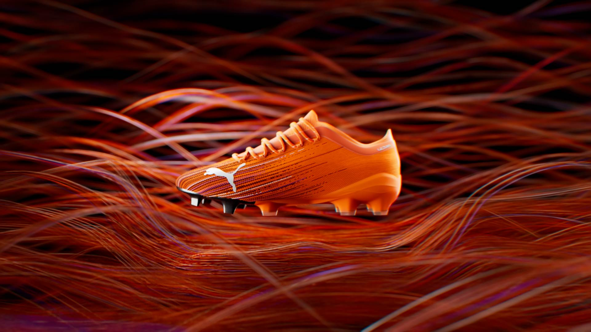 3D Puma Ultra soccer shoe with abstract wires in the background