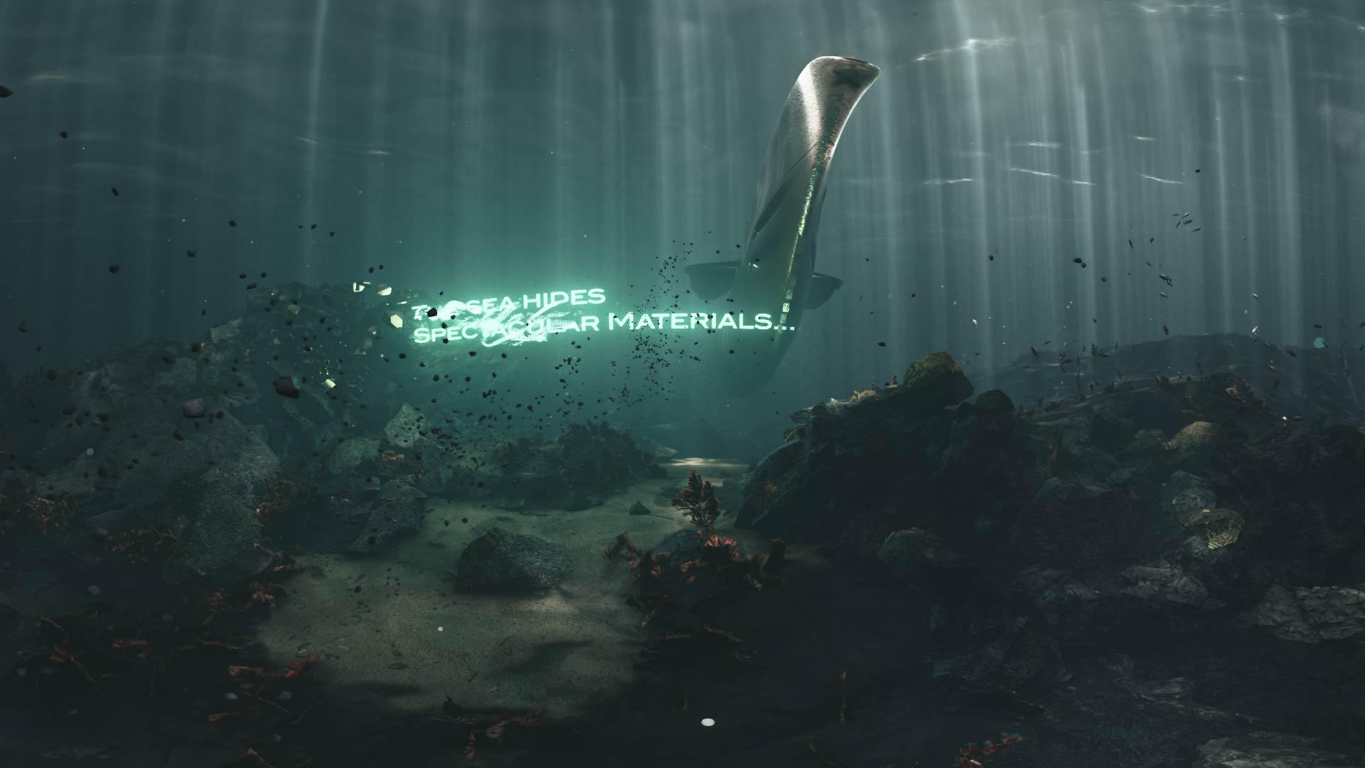 3D render of a submarine passing through underwater corals