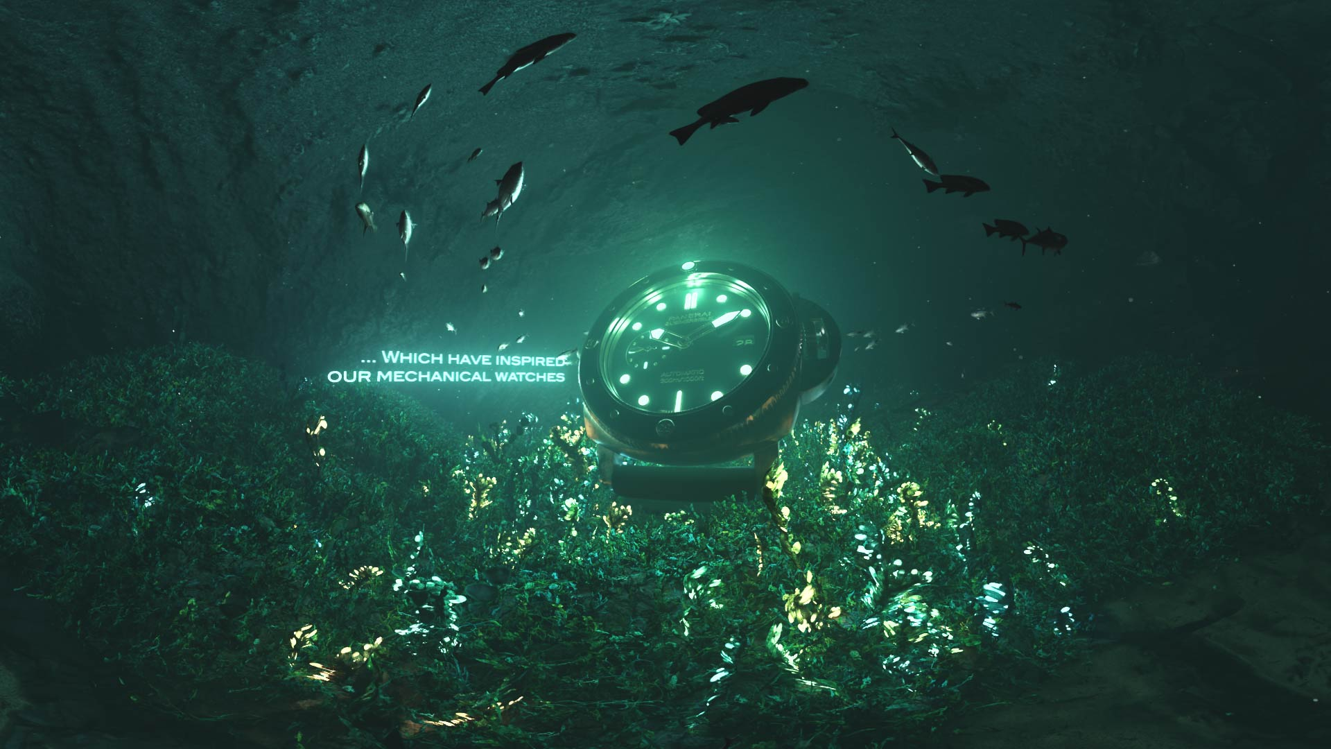 3D render of a luminescent Panerai watch in an underwater cave with glowing plants