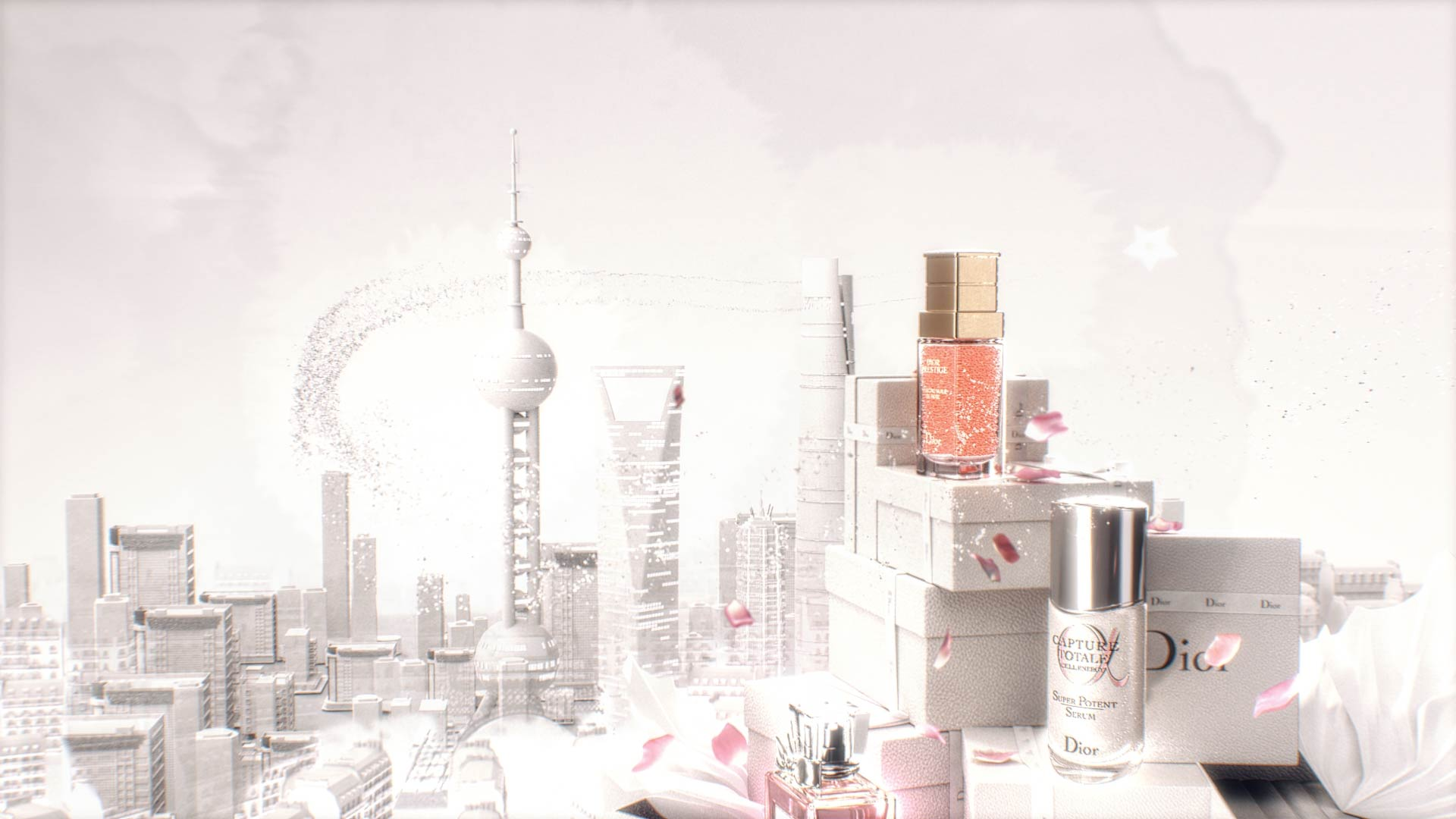 3D Motion Design with Dior products on top of gift boxes with Shangai in the background