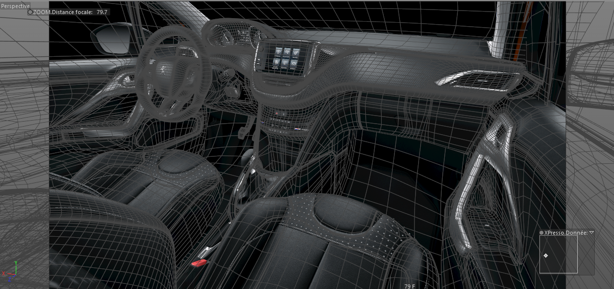 3D camera mapping of the Peugeot 208 interior in Cinema 4D