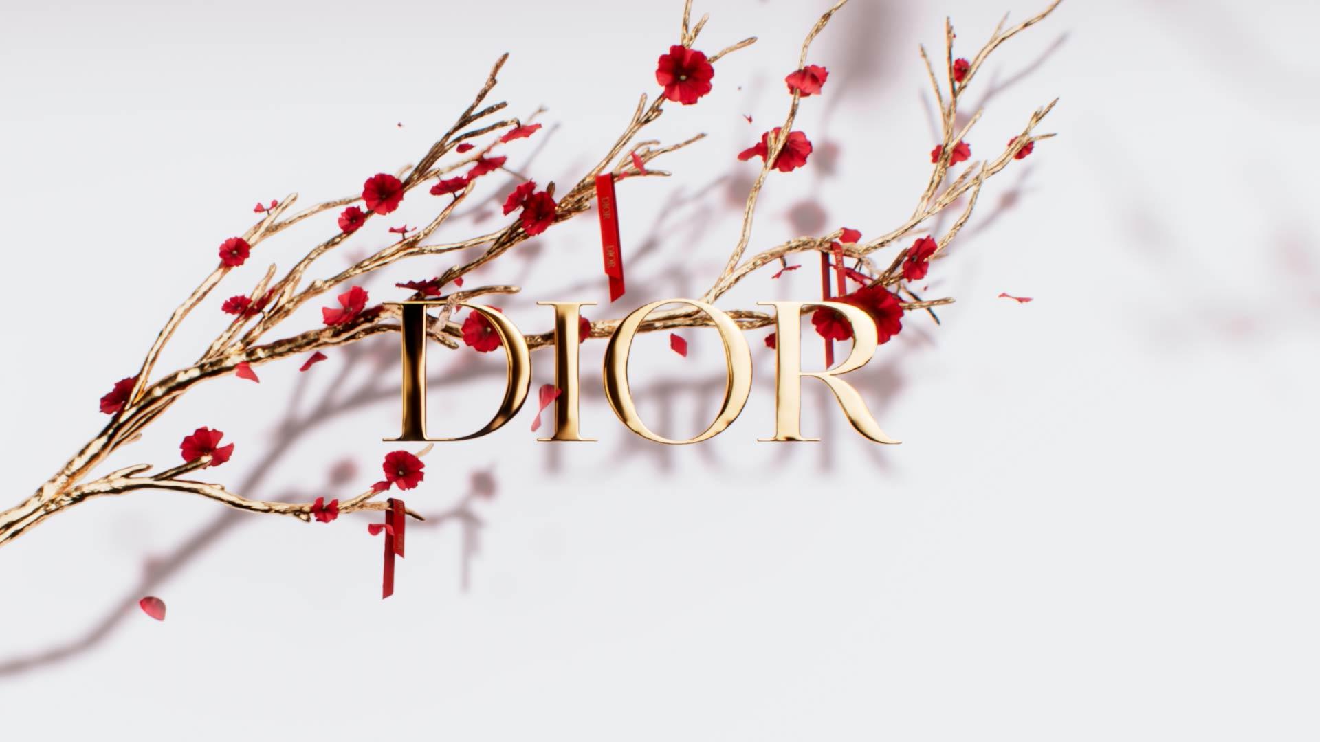 Visuel 3D du Nouvel An chinois pour Dior avec un arbre en or