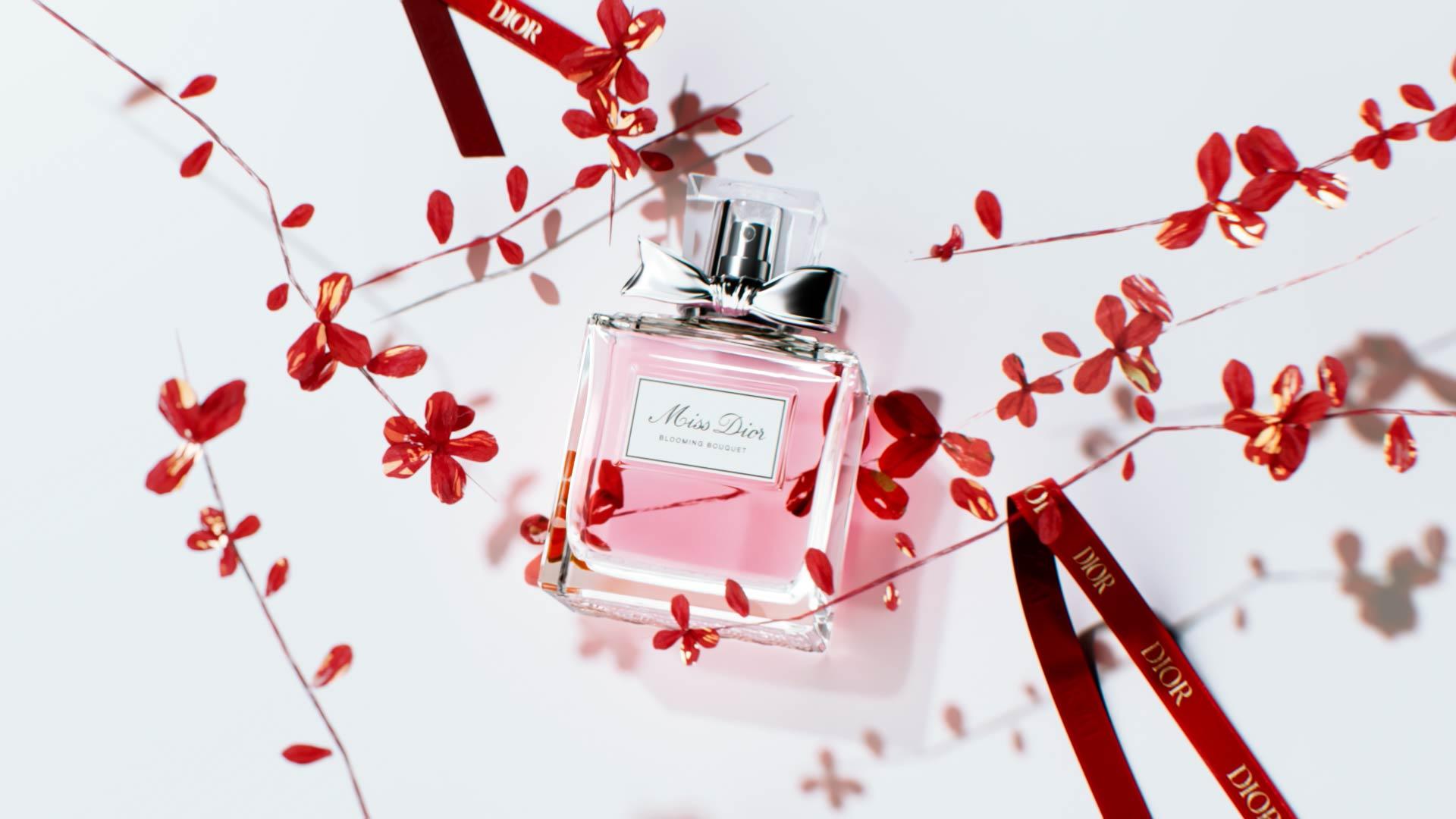 Visuel 3D du Nouvel An chinois pour Miss Dior avec fleurs et rubans rouges