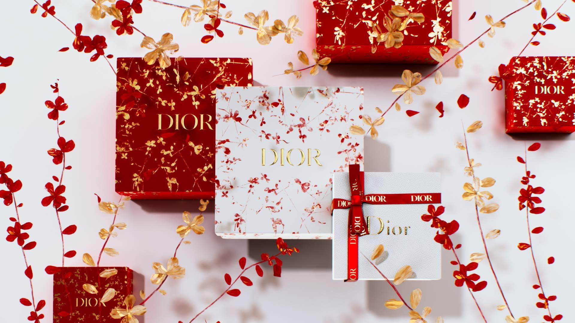 Visuel 3D du Nouvel An chinois avec une boîte Dior et des fleurs dorées