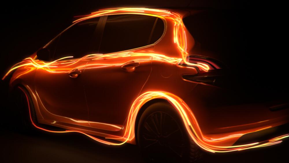 3D luminous particles trails flowing around a Peugeot 208