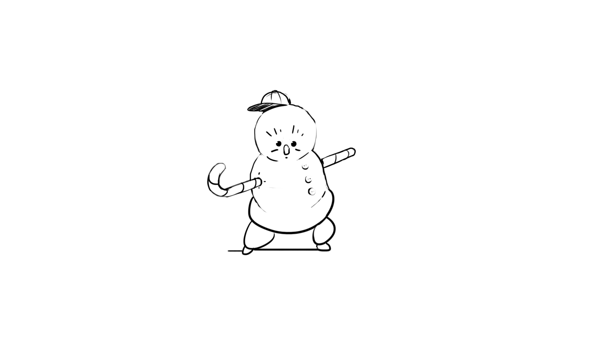 Character Design sketch of a cute snowman